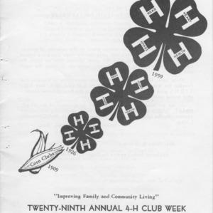 Twenty-ninth annual 4-H club week