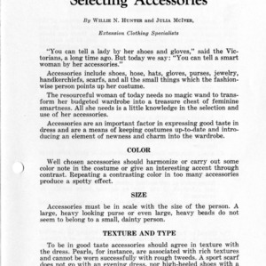 Selecting Accessories (Extension Miscellaneous Pamphlet No. 49)