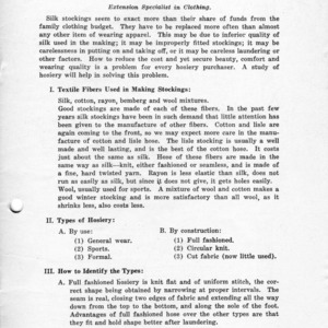 Hosiery (Extension Miscellaneous Pamphlet No. 36)