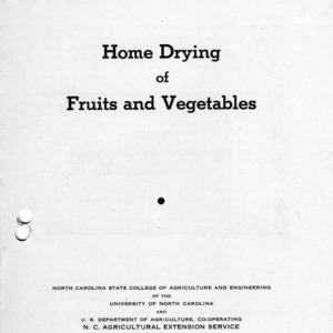 Home drying of fruits and vegetables (Extension Circular No. 232, Reprint)