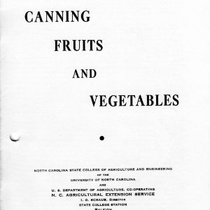 Canning fruits and vegetables (Extension Circular No. 223, Reprint)