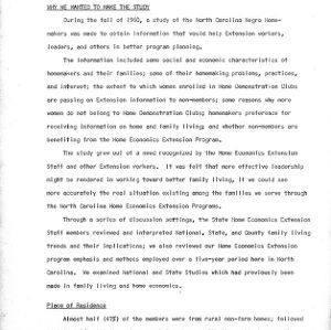 Some summary highlights and implications of the 1960 N.C. Negro Homemakers study findings