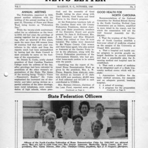 North Carolina Federation of Home Demonstration Clubs news letter 1, no. 2