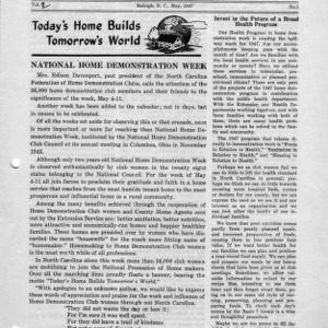 North Carolina Federation of Home Demonstration Clubs news letter 2, no. 1