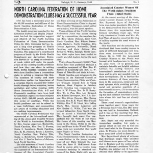 North Carolina Federation of Home Demonstration Clubs news letter 3, no. 1