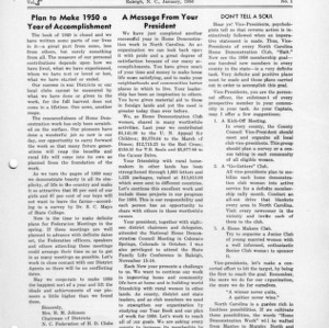 North Carolina Federation of Home Demonstration Clubs news letter 5, no. 1