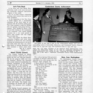 North Carolina Federation of Home Demonstration Clubs news letter 7, no. 1