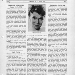 North Carolina Federation of Home Demonstration Clubs news letter 7, no. 3