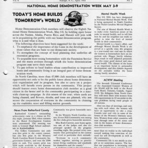 North Carolina Federation of Home Demonstration Clubs news letter 8, no. 2