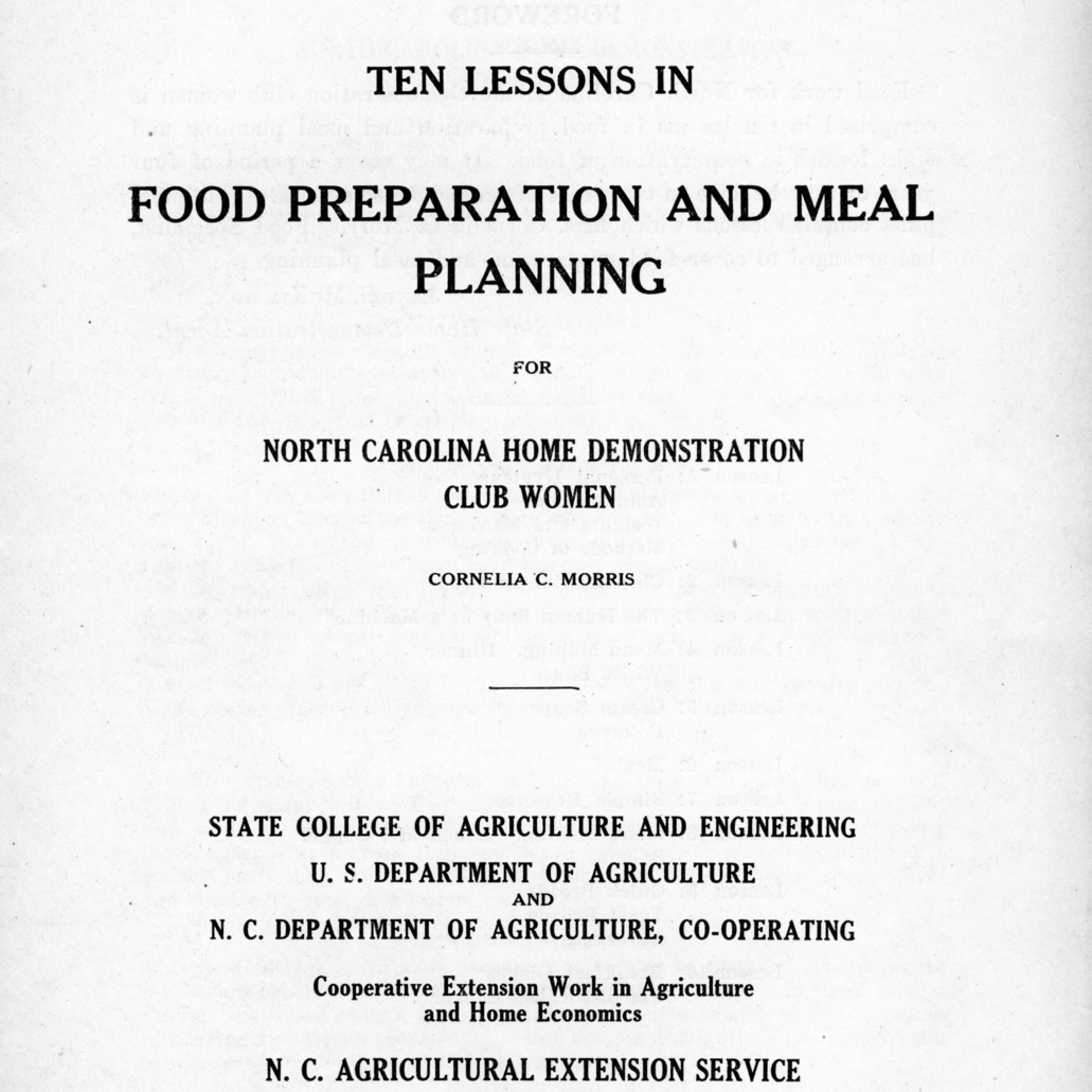 Ten lessons in food preparation and meal planning