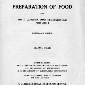 Preparation of food for North Carolina Home Demonstration Club girls, Second Year (Extension Circular 148)