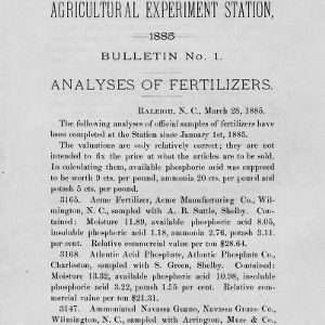 Analyses of fertilizers (Agricultural Experiment Station Bulletin No. 1)