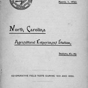Co-operative field tests during 1891 and 1892 (NC Agricultural Experiment Station Bulletin No. 89)