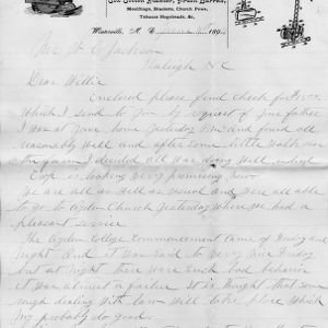 Letter from A. G. Cox to W. C. Jackson
