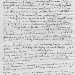Letter from Mary Jackson to her daughter, Elizabeth Jackson, mentioning weather and the farm in their hometown, Wake Forest, North Carolina