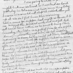 Letter from Mary Jackson to her daughter, Elizabeth Jackson, with a brief mention of tobacco on their farm