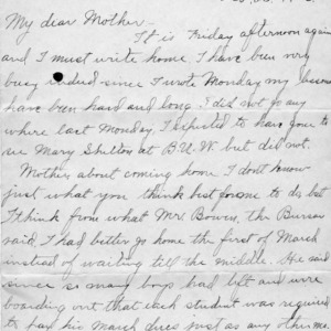 Letter from Azariah Graves Thompson, a student at North Carolina College of Agriculture and Mechanic Arts, to his mother, Feb. 23, 1906