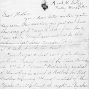 Letter from Azariah Graves Thompson, a student at North Carolina College of Agriculture and Mechanic Arts, to his mother, March 2, 1906