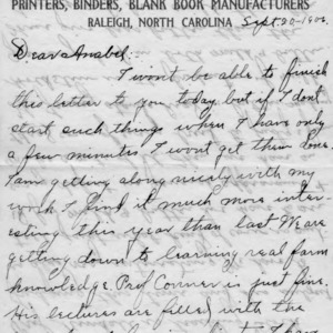 Letter from Azariah Graves Thompson, a student at North Carolina College of Agriculture and Mechanic Arts, to his sister, Anabel, September 20, 1906