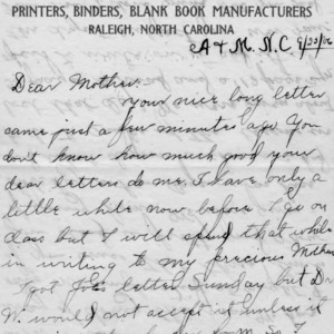 Letter from Azariah Graves Thompson, a student at North Carolina College of Agriculture and Mechanic Arts, to his mother, September 25, 1906