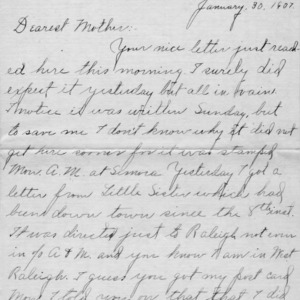 Letter from Azariah Graves Thompson, a student at North Carolina College of Agriculture and Mechanic Arts, to his mother, January 30, 1907