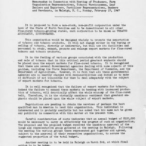 Memorandum in connection with meeting of producers, farm organization representatives, tobacco warehousemen, leaf dealers and exporters, fertilizer representatives, bankers, and merchants, in Raleigh, N.C., Monday, February 17, 1947