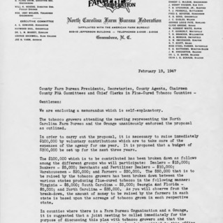 Letter to county farm bureau presidents, secretaries, county agents, chairmen county PMA committees, and chief clerks in flue-cured tobacco counties, Febrary 19, 1947