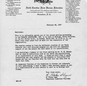 Letter regarding the creation of the Tobacco Associates, Inc., February 26, 1947