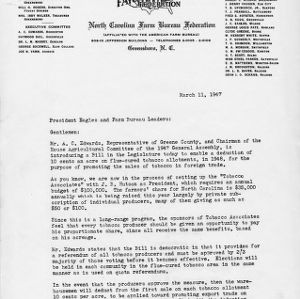 Letter to President Eagles and farm bureau leaders, March 11, 1947