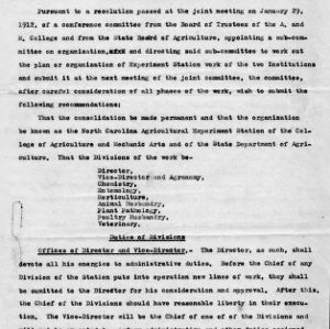 Suggested plan of concolidation [sic] of the experimental work of the A. and M. College and the State Department of Agriculture