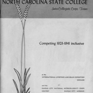 NC State's Inter-Collegiate Crops Teams, Competing 1923-1941 Inclusive