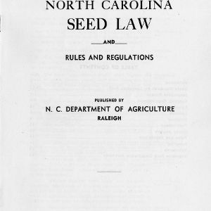 North Carolina seed law and rules and regulations