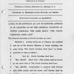 """House bill number 600, a bill to be entitled an act to rewrite article 31 of chapter 106 of the general statutes of North Carolina, the same being, """"The North Carolina seed law."""""""
