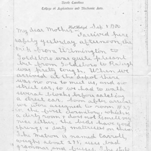 Letter from Edward P. Bailey to his mother, September 5, 1900