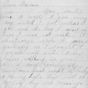 Letter from Walter Bullock to his mother about life at school, January 6, 1892