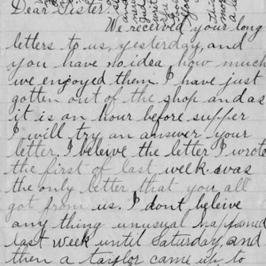 Letter from George Bullock to his sister, February 12, 1894