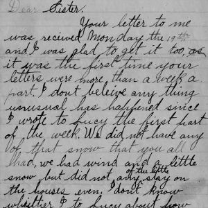 Letter fom George Bullock to his sister, February 28, 1894