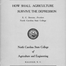 How shall agriculture survive the depression