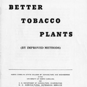 Better Tobacco Plants, By Improved Methods (Extension Circular No. 293, Reprint)
