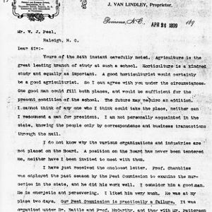 Letter from J. Van Lindley to W. J. Peal, April 26, 1899