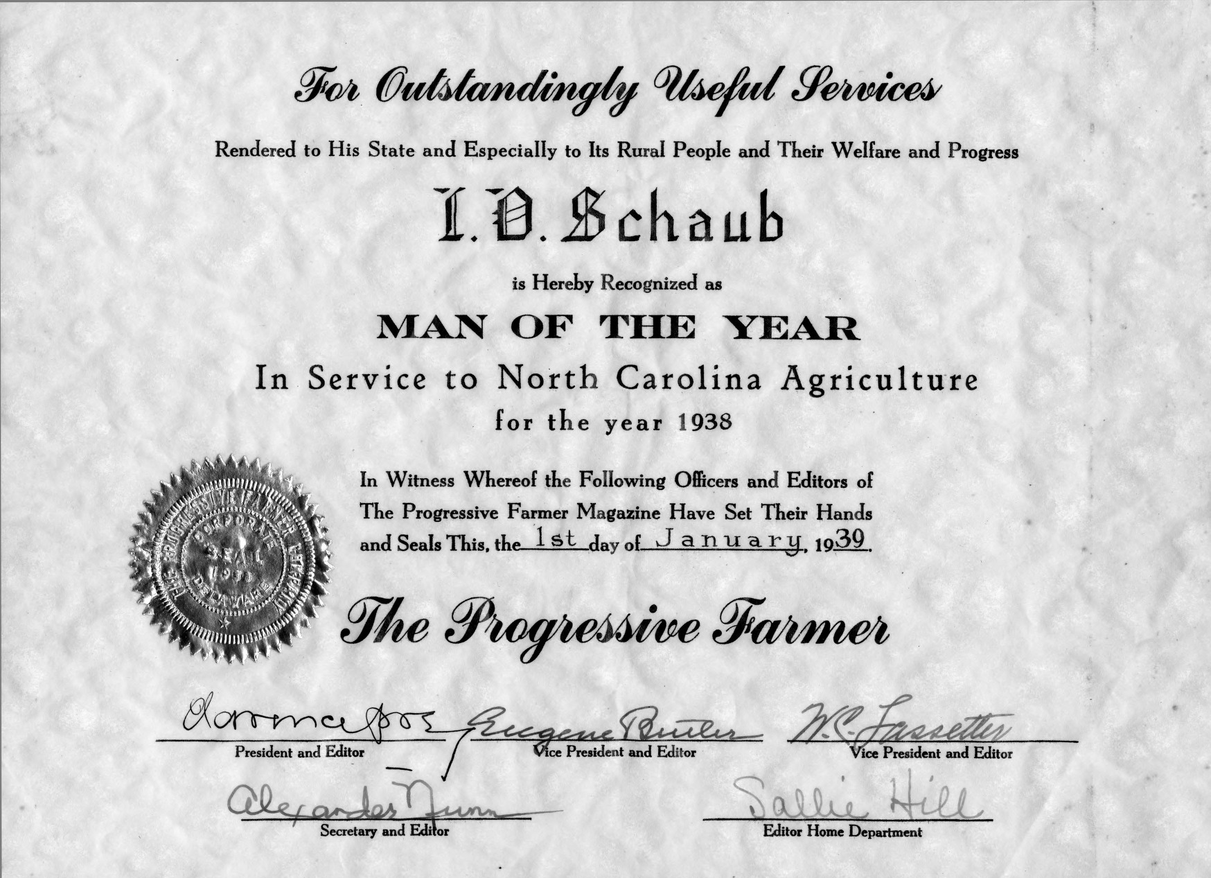 Which Digit Is The Year In A Vin Auto Electrical Wiring Diagram Schlage 390g Mag Lock Certificate Presented To Ira Obed Schaub Recognizing Him