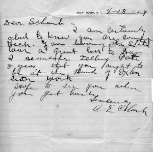 Two letters between C. E. Clark and I. O. Schaub