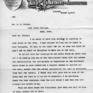 Letter from B. W. Kilgore to I. O. Schaub, March 6, 1909