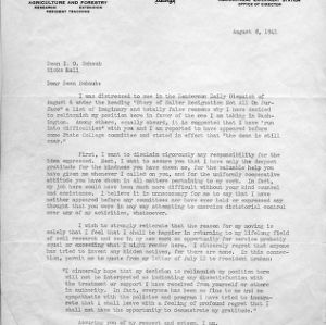 Letter from R. M. Salter to I. O. Schaub regarding Salter's resignation, August 8, 1941