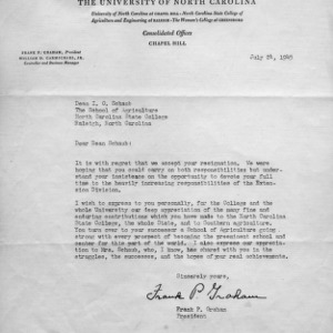 Letter from Frank Graham to I. O. Schaub regarding his resignation, July 24, 1945