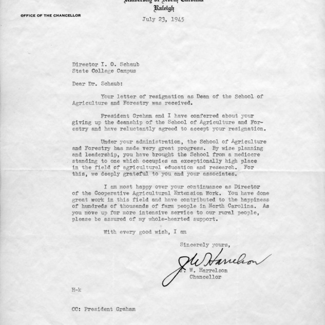 Letter from J. W. Harrelson to I. O. Schaub regarding his resignation, July 23, 1945