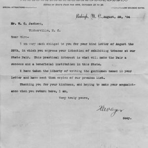 Letter from H. W. Ayer, the secretary of the N.C. State Fair, to W. C. Jackson