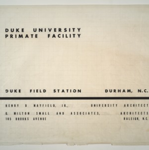 Duke Primate Facility -- Cover page