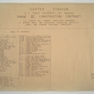 Carter Stadium -- Index of Drawings