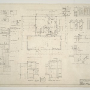 B. W. Smith Residence -- Typical Wall Section, Lower and Middle Level Floor Plan, Typical Exterior Door Detail